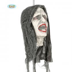Figura colgante de cabeza zombie con luz - Imagen 1