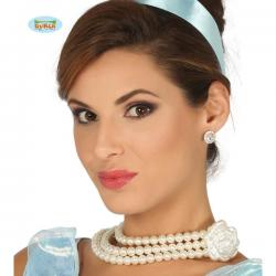 Collar de perlas con flor de princesa - Imagen 1