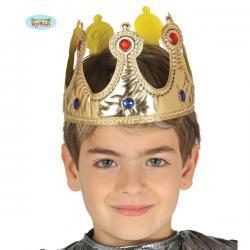 Corona de rey dorada de tela infantil - Imagen 1