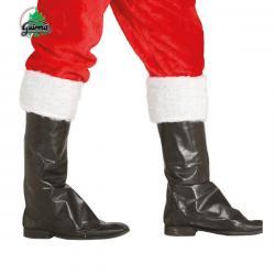 Cubrebotas de Papá Noel negros con peluche blanco - Imagen 1