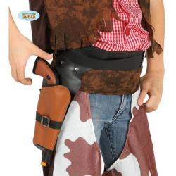 Cartuchera negra con pistola de vaquero infantil - Imagen 1
