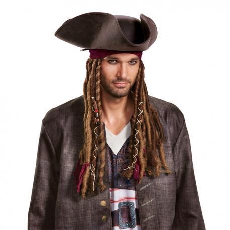 b6fc5bc4b46ca Peluca de Jack Sparrow La venganza de Salazar con sombrero y pañuelo para  hombre - Imagen