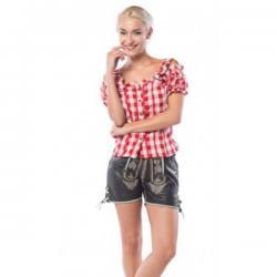 Camisa de tirolesa roja y blanca para mujer - Imagen 1