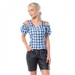 Camisa de tirolesa azul y blanca para mujer - Imagen 1