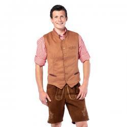 Chaleco tirolés marrón para hombre - Imagen 1