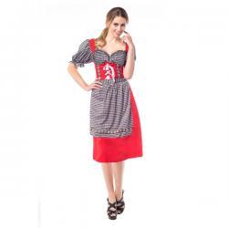 Vestido de tabernera rojo y negro para mujer - Imagen 1