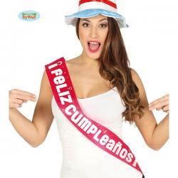 Banda Feliz Cumpleaños fucsia para mujer - Imagen 1