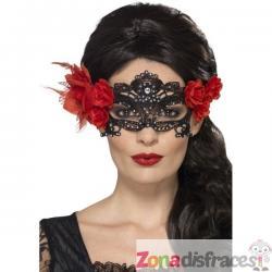 Antifaz negro con flor roja para mujer - Imagen 1