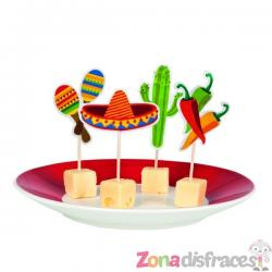 Set de 12 palillos variados para fiesta mejicana - Imagen 1