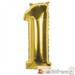 Globo número 1 dorado 36 cm - Imagen 1