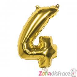 Globo número 4 dorado 36 cm - Imagen 1
