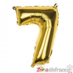 Globo número 7 dorado 36 cm - Imagen 1