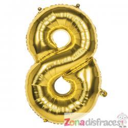 Globo número 8 dorado 86 cm - Imagen 1
