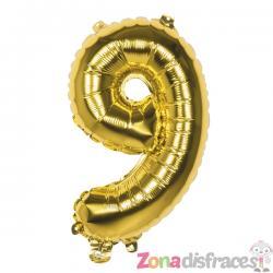 Globo número 9 dorado 36 cm - Imagen 1
