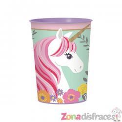 Vaso de plástico duro de princesa unicornio - Imagen 1