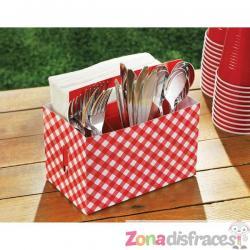Caja de cartón para cubiertos de cuadros rojo y blanco - Imagen 1