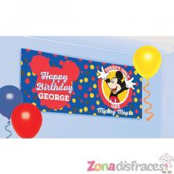 Pancarta personalizable cumpleaños de Mickey Mouse - Imagen 1