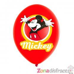 Set de 6 globos de látex Mickey Mouse Feliz - Imagen 1