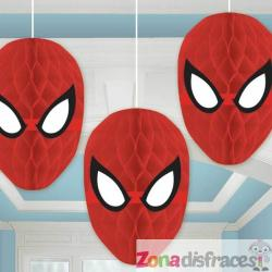 Set de 3 decoraciones colgantes de panel de abeja de Spiderman - Imagen 1