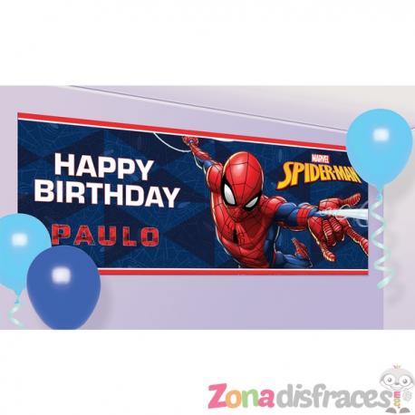 "Cartel ""Happy Birthday"" personalizable de Spiderman - Imagen 1"