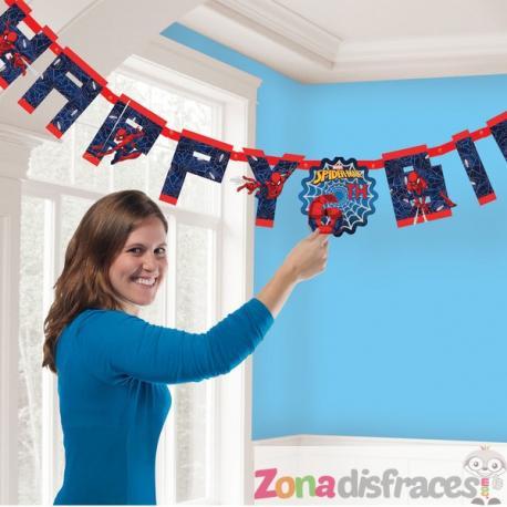 """Guirnalda """"Happy Birthday"""" con números de Spiderman - Imagen 1"""