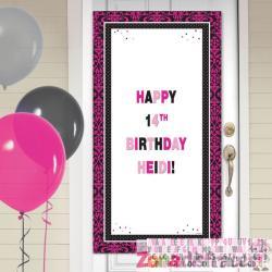 Cartel personalizable cumpleaños para puerta decoración de época rosa y negra - Imagen 1