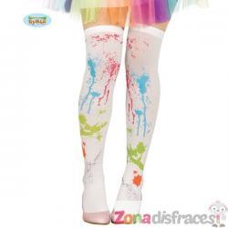 Calcetines blancos con pintura para mujer - Imagen 1