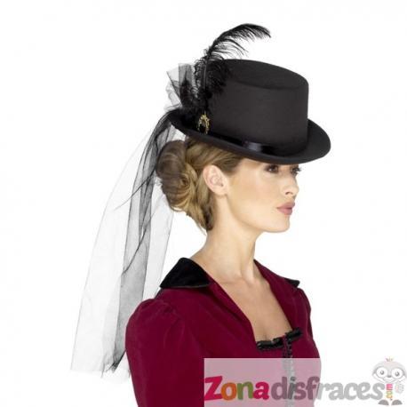Comprar Sombrero victoriano con pluma y velo negro para adulto Online 5c6d60278f7