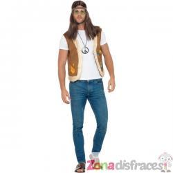 Chaleco hippie marrón para adulto - Imagen 1