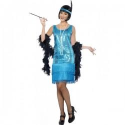 Disfraz de charlestón azul para mujer - Imagen 1