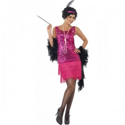Disfraz de charlestón rosa para mujer - Imagen 1