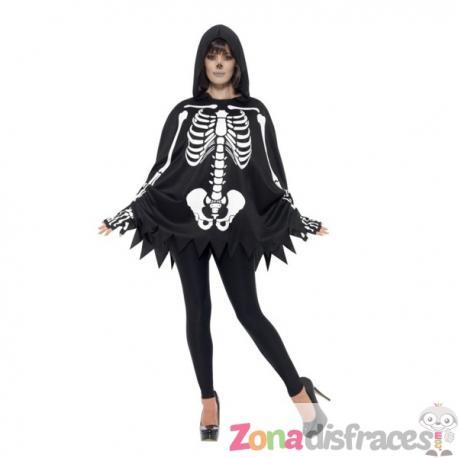 Poncho de esqueleto para adulto - Imagen 1