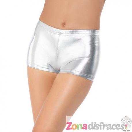Pantalón corto plateado para mujer - Imagen 1