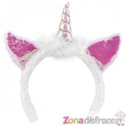 Diadema de unicornio blanco para adulto - Imagen 1