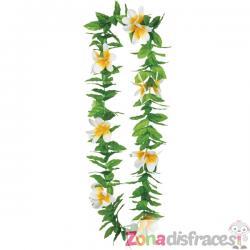 Collar hawaiano verde con flores - Imagen 1
