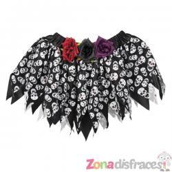 Falda de día de los muertos negra para mujer - Imagen 1