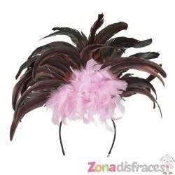 Tiara de carnaval brasileño rosa para mujer - Imagen 1