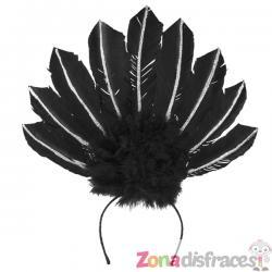 Tiara de carnaval brasileño negra para mujer - Imagen 1