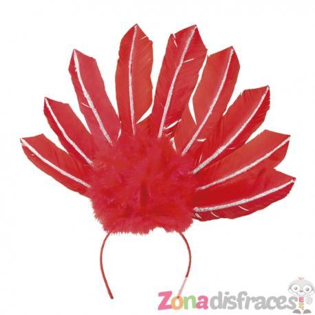 Tiara de carnaval brasileño roja para mujer - Imagen 1