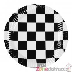 Set de 6 platos bandera a cuadros - Imagen 1