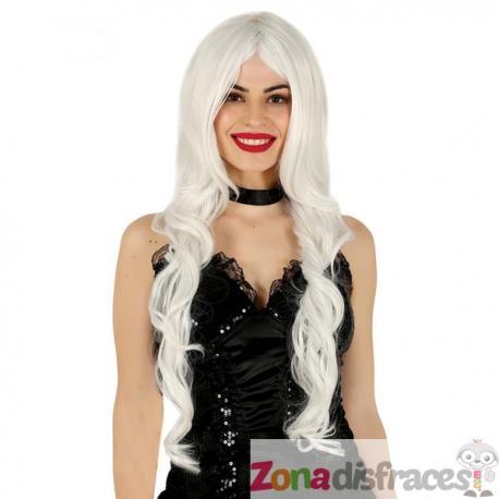 Peluca de melena larga blanca para mujer - Imagen 1