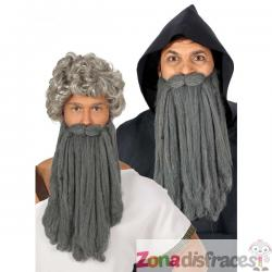 Barba larga de anciano gris para hombre - Imagen 1