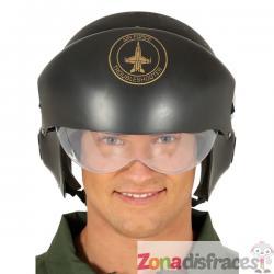 Casco de piloto de caza verde para adulto - Imagen 1