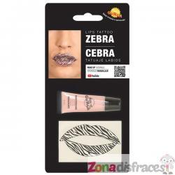 Tatuaje de cebra para labios para adulto - Imagen 1