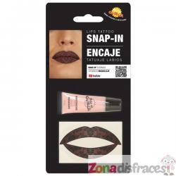 Tatuaje de encaje para labios para adulto - Imagen 1
