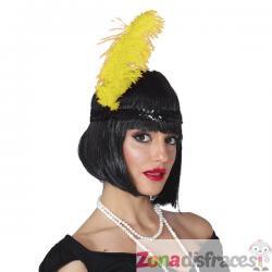 Pluma de avestruz amarilla para mujer - Imagen 1
