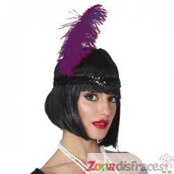 Pluma de avestruz morada para mujer - Imagen 1