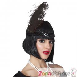 Pluma de avestruz negra para mujer - Imagen 1