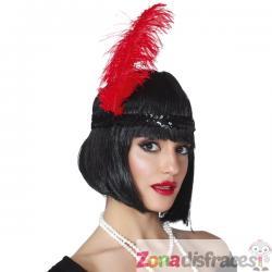 Pluma de avestruz roja para mujer - Imagen 1