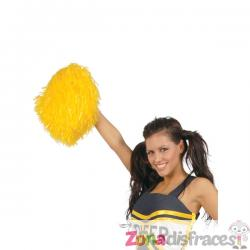 Pompones de animadora amarillos para adulto - Imagen 1